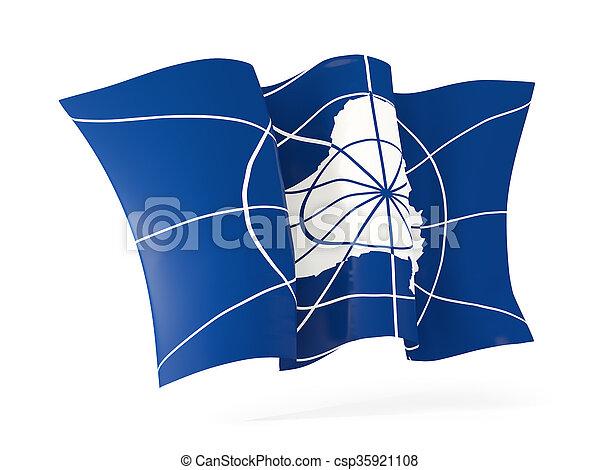 Waving flag of antarctica. 3D illustration - csp35921108