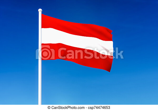 Waving flag of Austria on the blue sky background - csp74474653