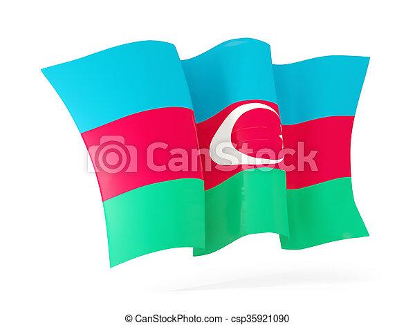 Waving flag of azerbaijan. 3D illustration - csp35921090