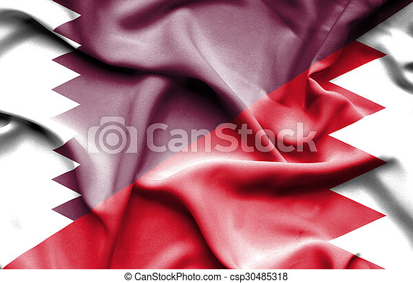 Waving flag of Bahrain and Qatar