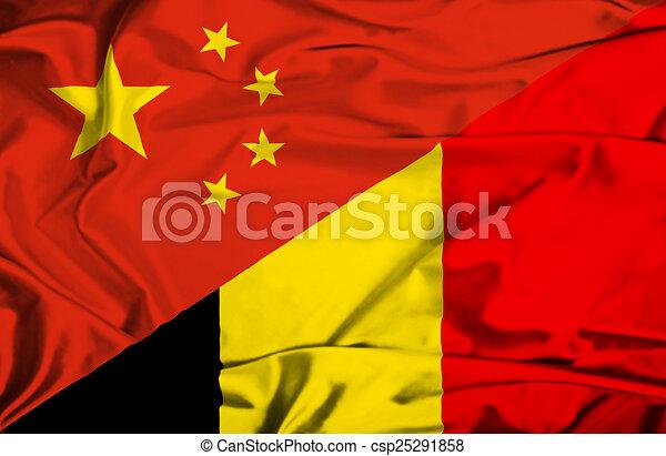 Waving flag of Belgium and China - csp25291858