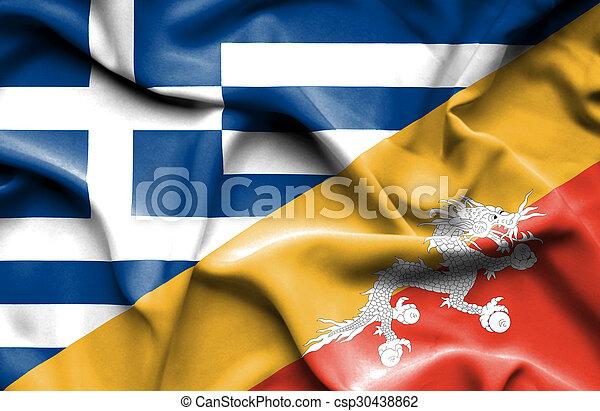 Waving flag of Bhutan and Greece - csp30438862