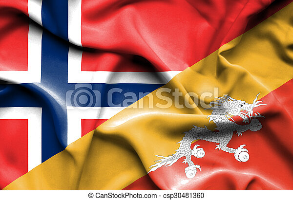 Waving flag of Bhutan and Norway - csp30481360