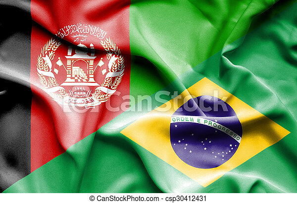 Waving flag of Brazil and Afghanistan - csp30412431