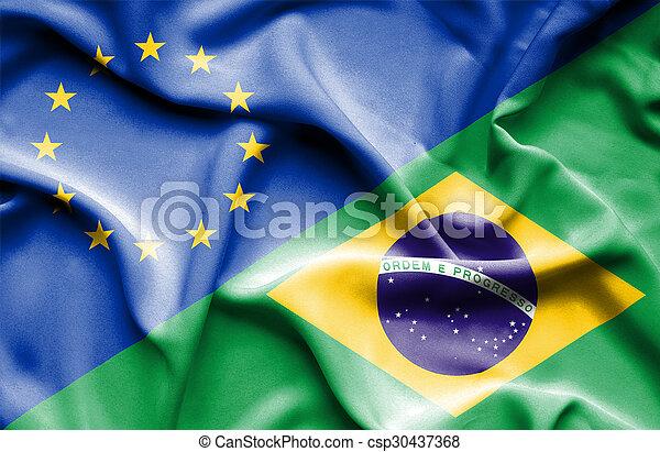 Waving flag of Brazil and EU - csp30437368
