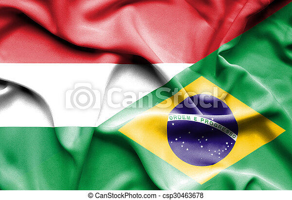 Waving flag of Brazil and Hungary - csp30463678