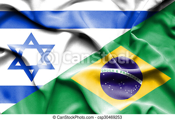 Waving flag of Brazil and Israel - csp30469253