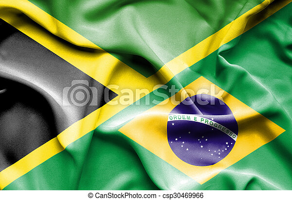 Waving flag of Brazil and Jamaica - csp30469966
