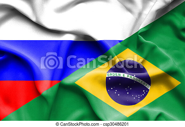 Waving flag of Brazil and Russia - csp30486201