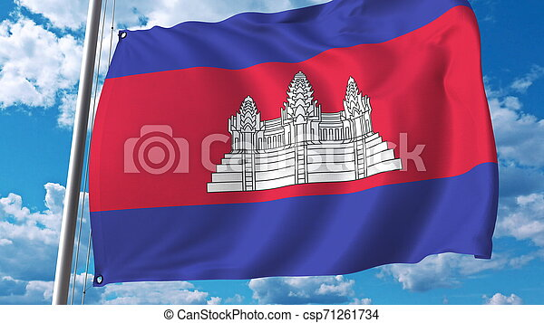 Waving flag of Cambodia on sky background. 3D rendering - csp71261734