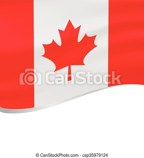 Waving flag of Canada isolated on white - csp35979124