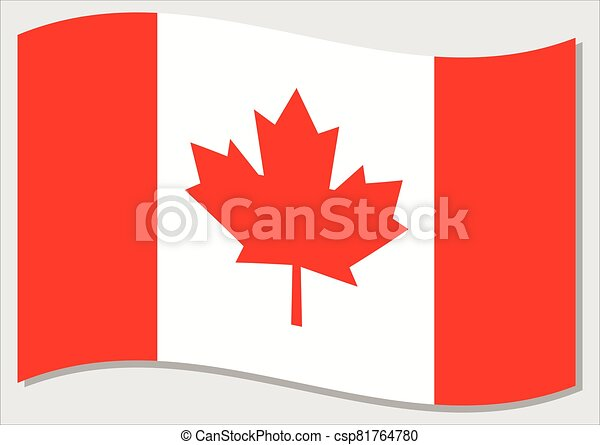 Waving flag of Canada vector graphic. Waving Canadian flag illustration. Canada country flag wavin in the wind is a symbol of freedom and independence. - csp81764780