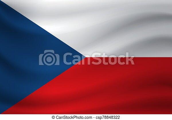Waving flag of Czech Republic. Vector illustration - csp78848322