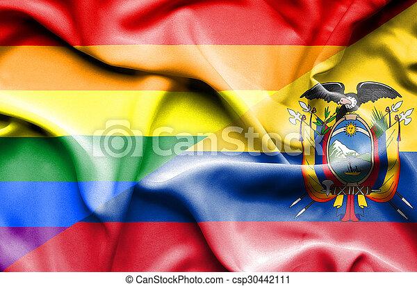 Waving flag of Ecuador and Pride - csp30442111