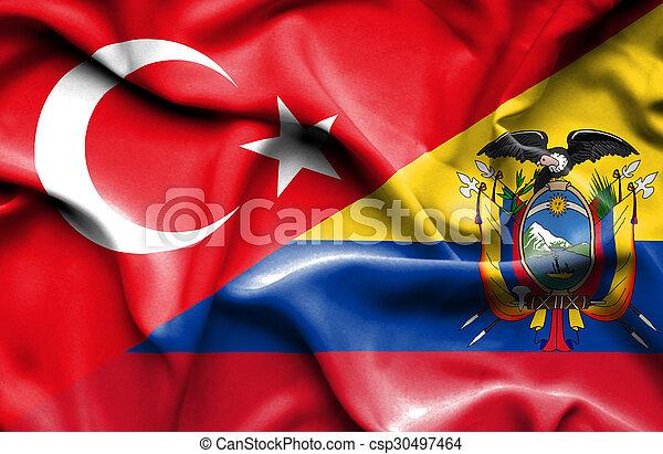 Waving flag of Ecuador and Turkey - csp30497464
