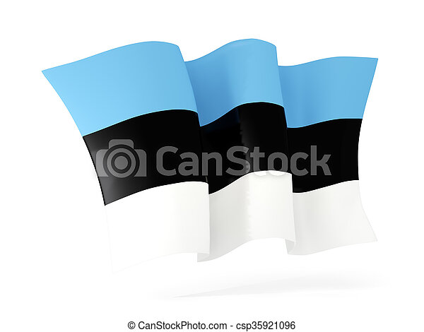 Waving flag of estonia. 3D illustration - csp35921096