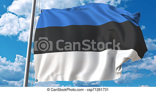 Waving flag of Estonia on sky background. 3D rendering - csp71261731