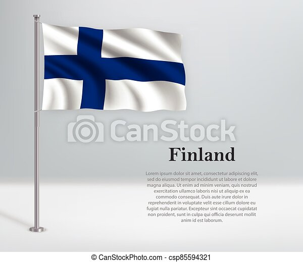 Waving flag of Finland on flagpole. Template for independence day - csp85594321