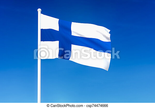 Waving flag of Finland on the blue sky background - csp74474666