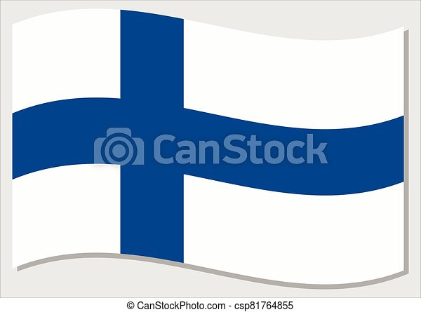 Waving flag of Finland vector graphic. Waving Finnish flag illustration. Finland country flag wavin in the wind is a symbol of freedom and independence. - csp81764855