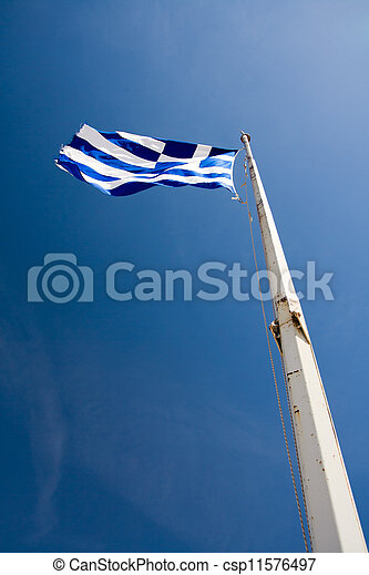 Waving Flag of Greece on the blue sky background - csp11576497