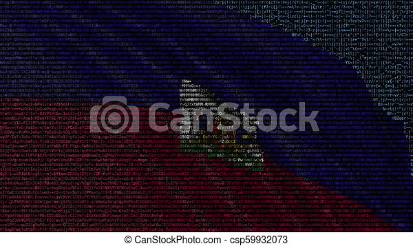 Waving Flag Of Haiti Made Of Text Symbols On A Computer Screen