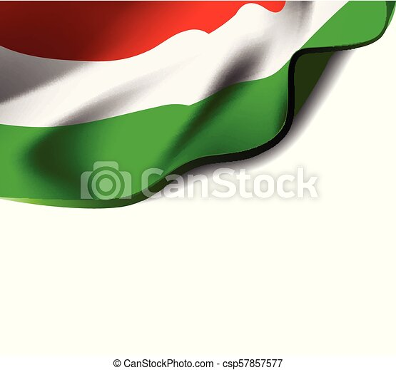 Waving flag of Hungary close-up with shadow on white background. Vector illustration with copy space - csp57857577