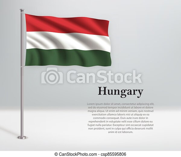 Waving flag of Hungary on flagpole. Template for independence day - csp85595806