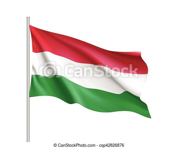 Waving flag of Hungary state. - csp42826876