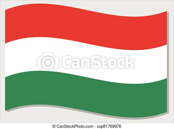 Waving flag of Hungary vector graphic. Waving Hungarian flag illustration. Hungary country flag wavin in the wind is a symbol of freedom and independence. - csp81769976