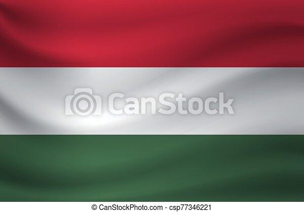 Waving flag of Hungary. Vector illustration - csp77346221