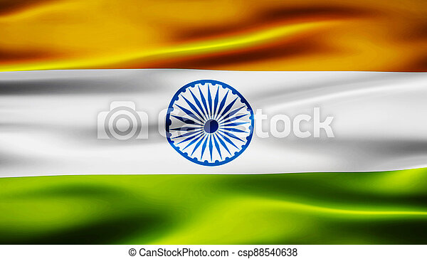 waving flag of india 3d illustration - csp88540638