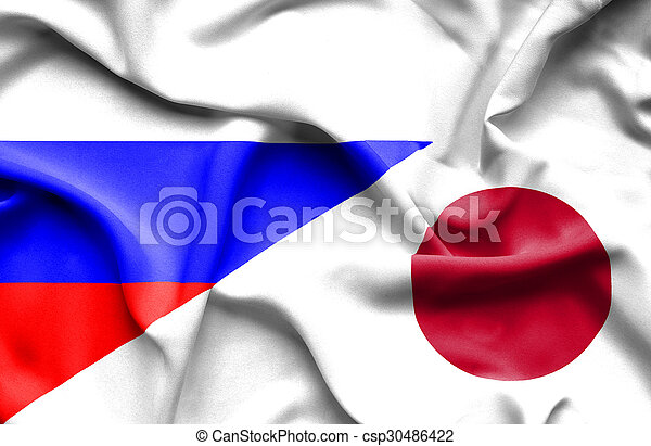 Waving flag of Japan and Russia - csp30486422