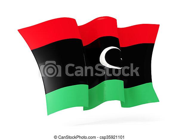 Waving flag of libya. 3D illustration - csp35921101