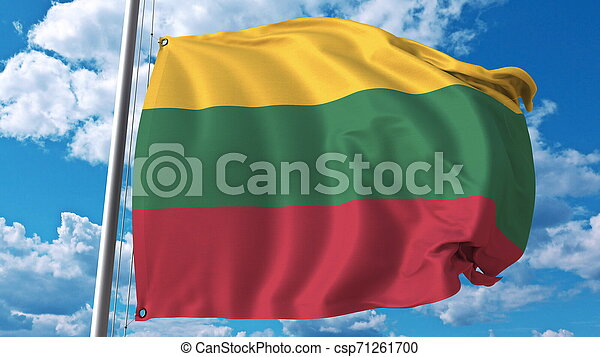 Waving flag of Lithuania on sky background. 3D rendering - csp71261700