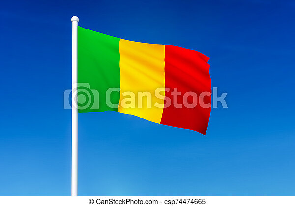 Waving flag of Mali on the blue sky background - csp74474665