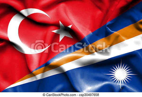 Waving flag of Marshall Islands and Turkey - csp30497658