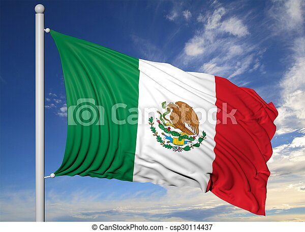 Waving flag of Mexico on flagpole, on blue sky background. - csp30114437