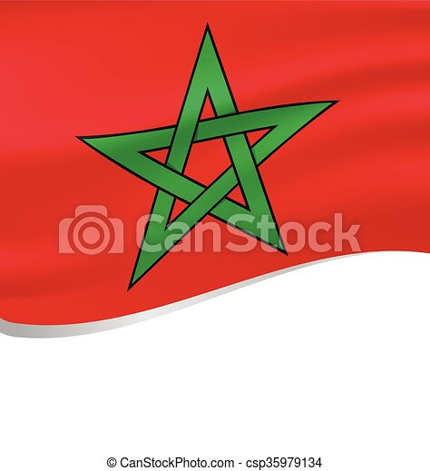 Waving flag of Morocco isolated on white - csp35979134
