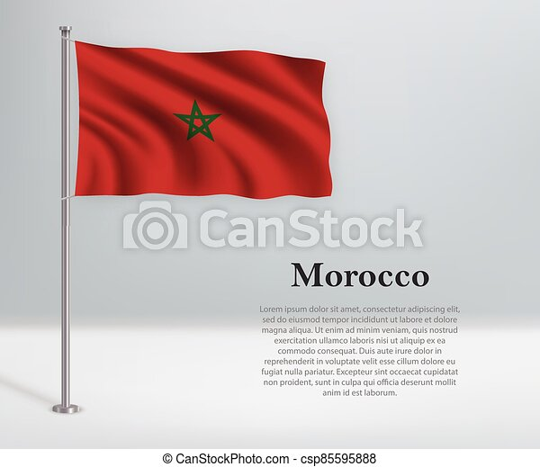 Waving flag of Morocco on flagpole. Template for independence day - csp85595888
