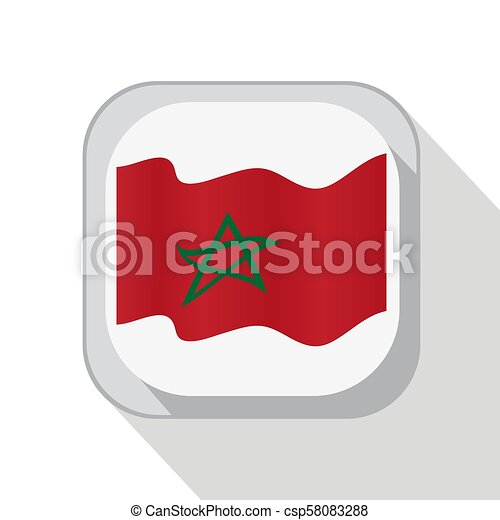 Waving flag of Morocco on the button. Vector illustration. - csp58083288