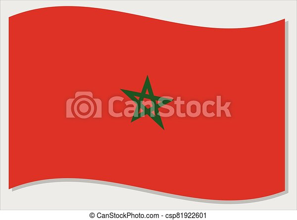 Waving flag of Morocco vector graphic. Waving Moroccan flag illustration. Morocco country flag wavin in the wind is a symbol of freedom and independence. - csp81922601