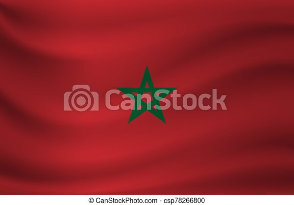 Waving flag of Morocco. Vector illustration - csp78266800