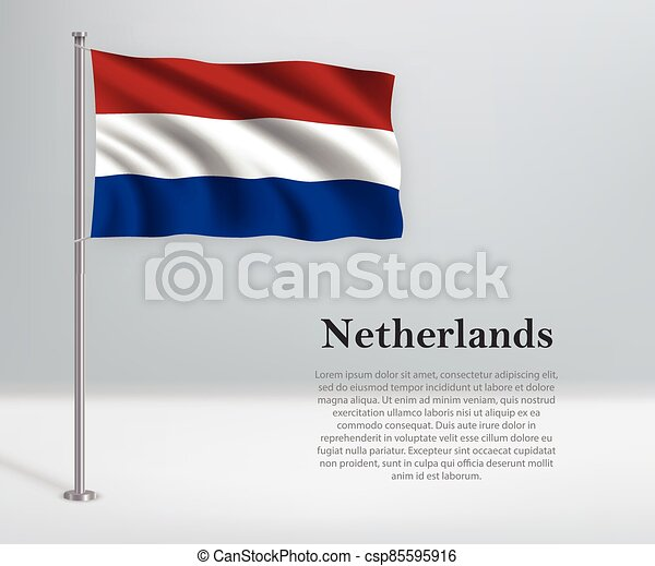 Waving flag of Netherlands on flagpole. Template for independence day - csp85595916