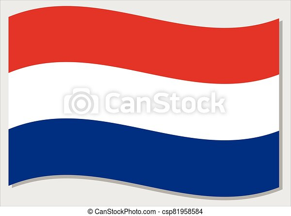 Waving flag of Netherlands vector graphic. Waving Dutch flag illustration. Netherlands country flag wavin in the wind is a symbol of freedom and independence. - csp81958584