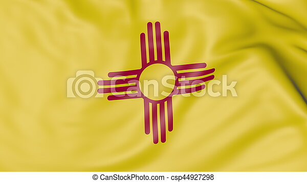 Waving flag of New Mexico state. 3D rendering - csp44927298