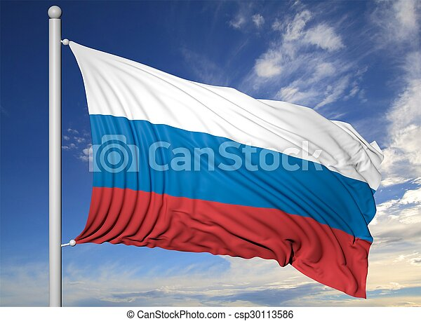 Waving flag of Russia on flagpole, on blue sky background. - csp30113586