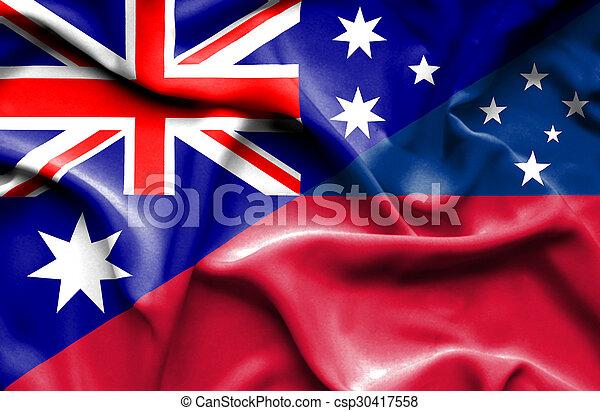 Waving flag of Samoa and Australia - csp30417558
