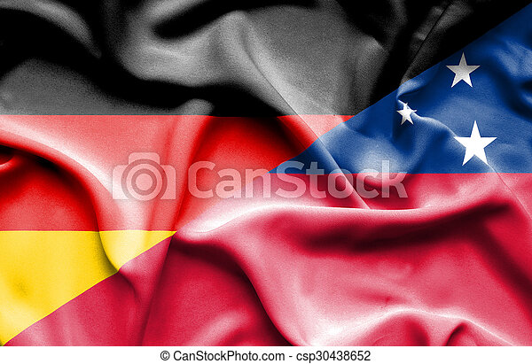 Waving flag of Samoa and Germany - csp30438652