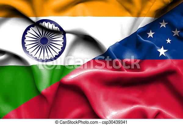 Waving flag of Samoa and India - csp30439341